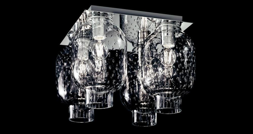 Plafoniera Moderna Vetro Murano : Plafoniera moderna in metallo cromato e vetri di murano coll gd