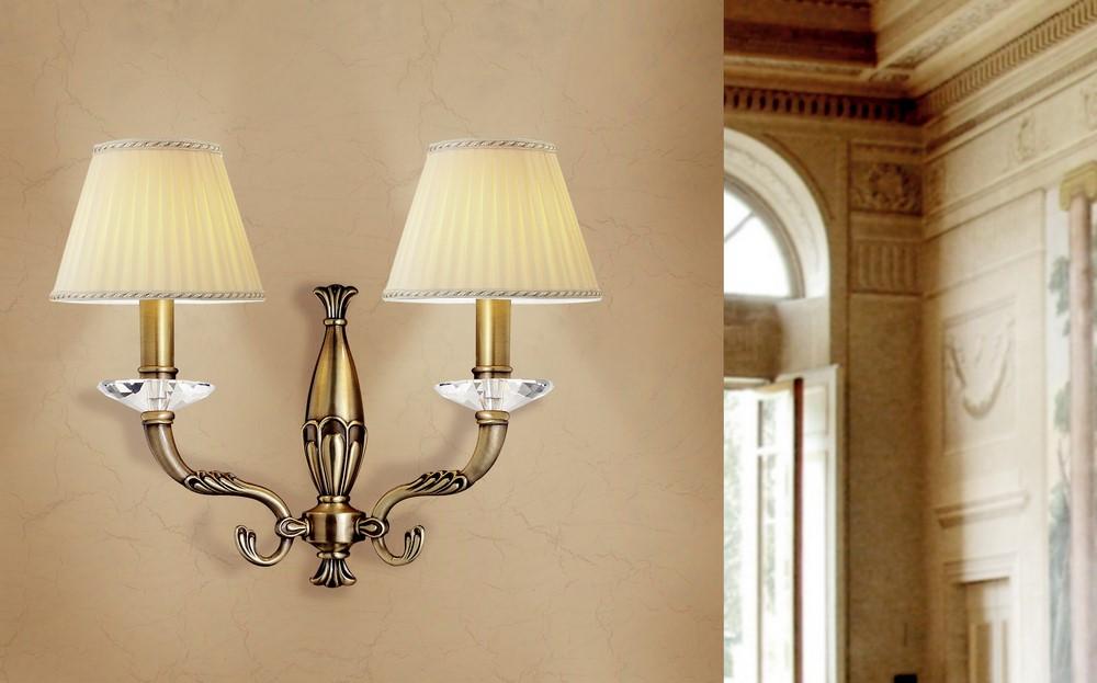 Applique classico luci in ottone brunito e paralumi plissè coll