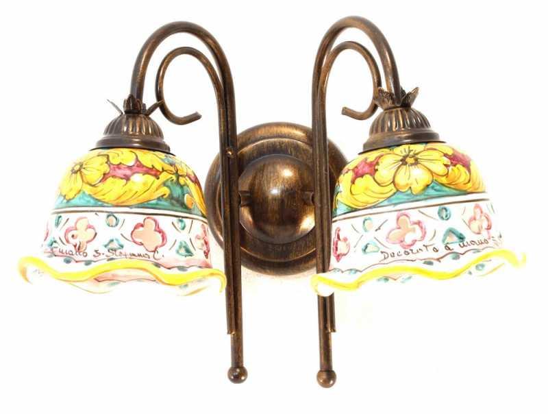 PLAFONIERA LAMPADA DA SOFFITTO CLASSICO CERAMICA SICILIANA DECORATA GIULIA//PL2