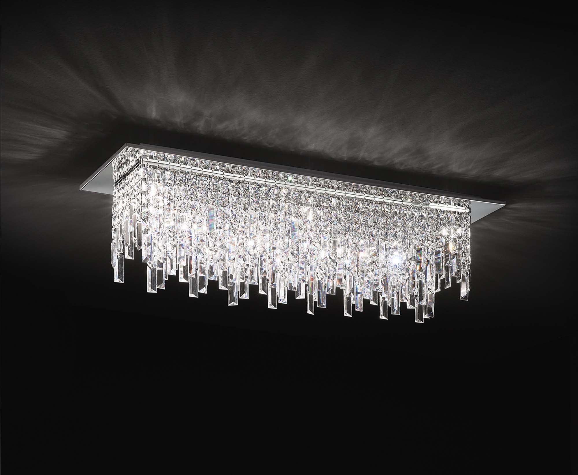 Plafoniere Con Gocce Di Cristallo : Plafoniera moderna con cristalli luci affra frangia design