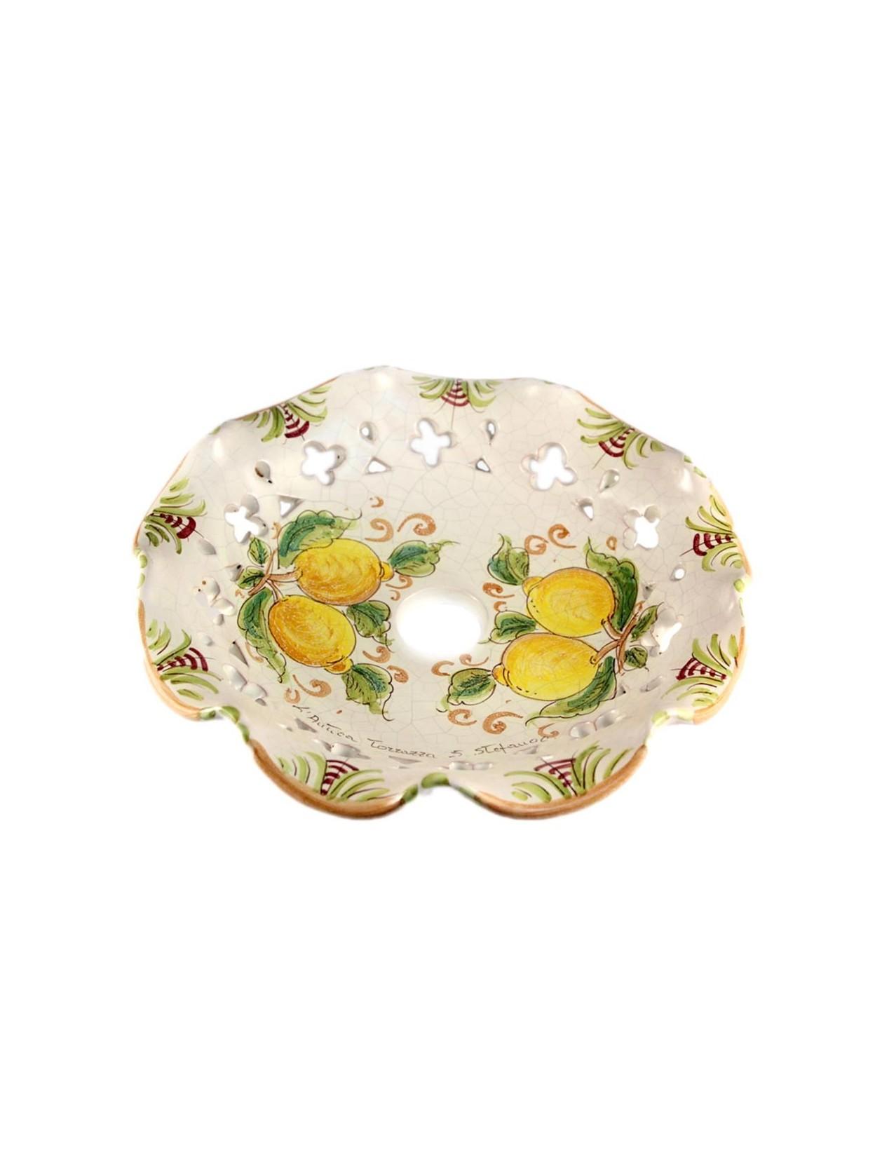 Piatti In Ceramica Per Lampadari.Dettagli Su Piatto Per Lampadario Ceramica Siciliana Decoro Limoni D 30