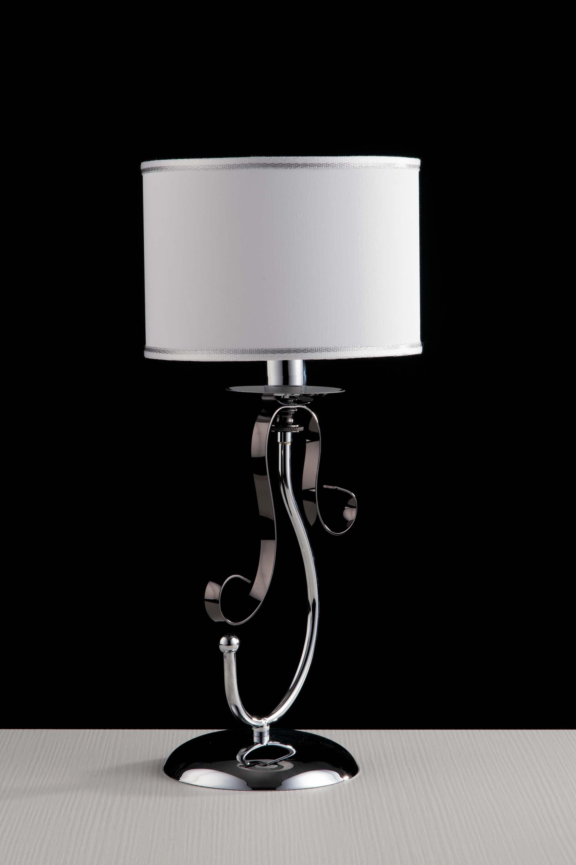 Dettagli su Lumetto moderno con paralume 1 luce LGT Mina nero e cromato
