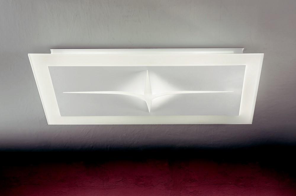 Plafoniere Vetro Moderne : Plafoniera moderna design in metallo e vetro bianco people 8195 4pl